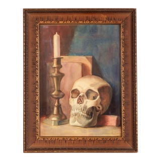 C.1910s Still Life Macabre Skull Watercolor / Pastel Painting by Albani Brodeur Rocheleau For Sale