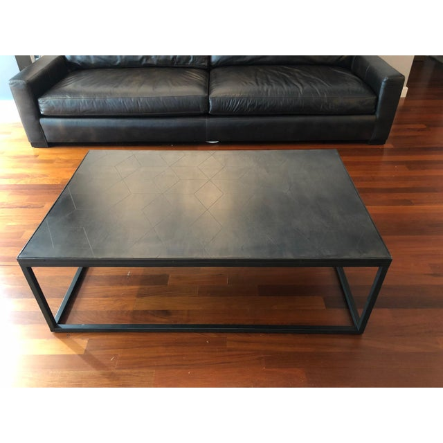 New condition, never used (currently in storage). Metal parquet coffee table from Restoration Hardware.Purchased brand new...