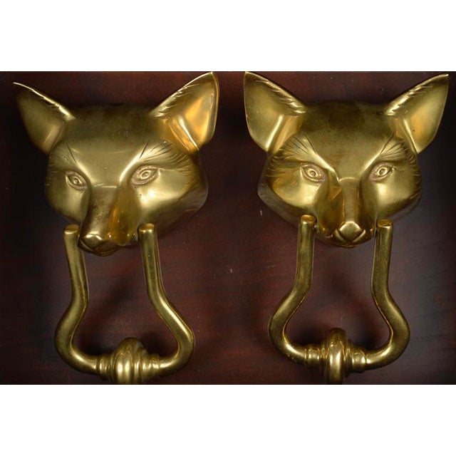 Fabulous pair of vintage fox heads heavy bronze door knockers. These pieces have an exquisite detail and design!
