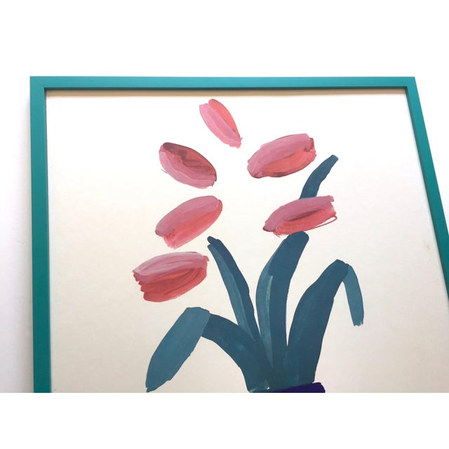 """Turquoise David Hockney Rare Vintage 1981 Lithograph Print Framed"""" Paris Review """" 25th Anniversary Collector's Poster For Sale - Image 8 of 13"""