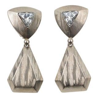 Yves Saint Laurent Paris Clip Earrings Silvered Metal and Rhinestone For Sale