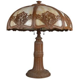 Arts & Crafts Bradley & Hubbard School Slag Glass Panel Table Lamp, Circa 1920 For Sale