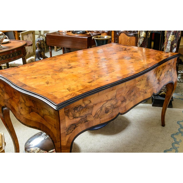 Hollywood Regency 1900s Italian Olive Wood Writing Desk / Console For Sale - Image 3 of 8