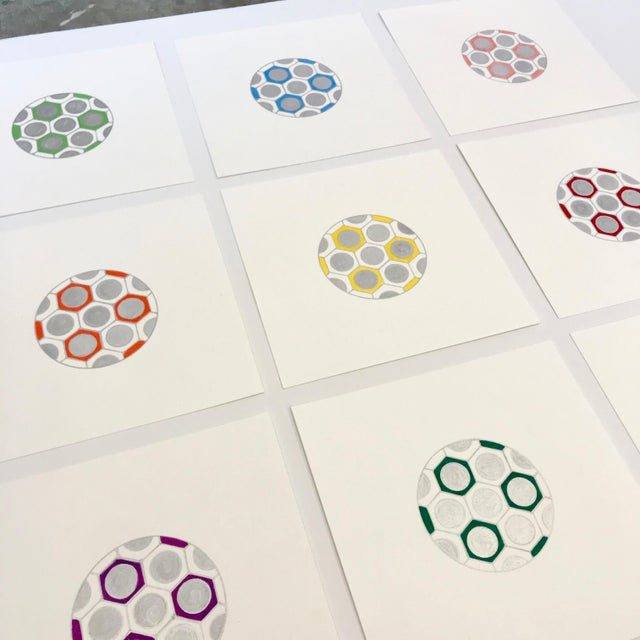 2010s Minimalist Geometric Ink Drawings by Natasha Mistry- Set of 9 For Sale - Image 5 of 9