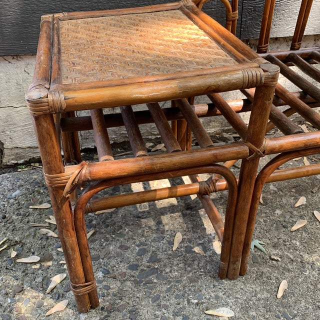 Mid 20th Century Vintage Rattan and Woven Telephone Bench/ Gossip Table For Sale - Image 5 of 9