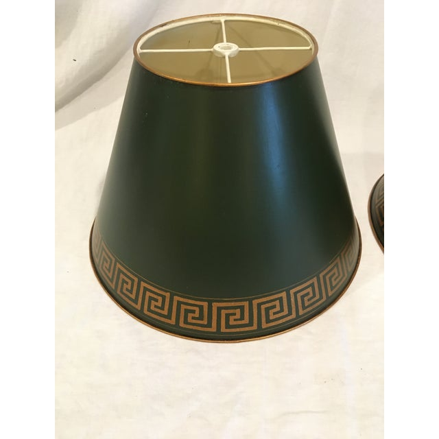 Traditional Green Tole Painted Metal With Greek Key Border Lampshades - a Pair For Sale - Image 3 of 9