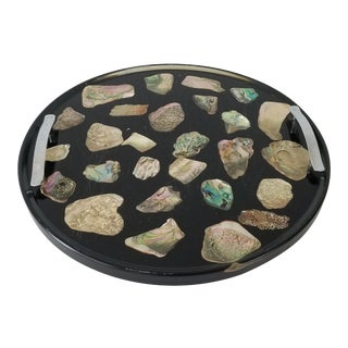Vintage Round Resin - Lucite and Abalone Shell Tray For Sale