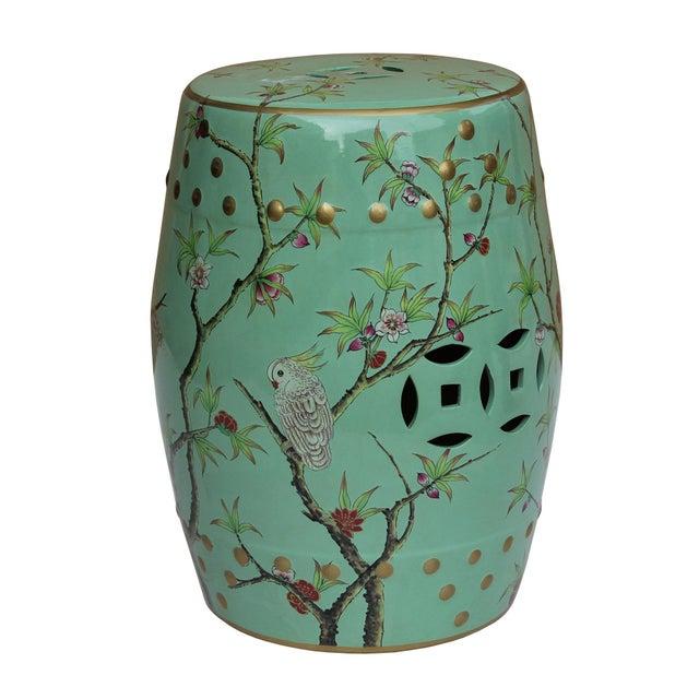 Ceramic Handmade Pastel Blue Green Porcelain Bird Flower Round Stool Ottoman For Sale - Image 7 of 7