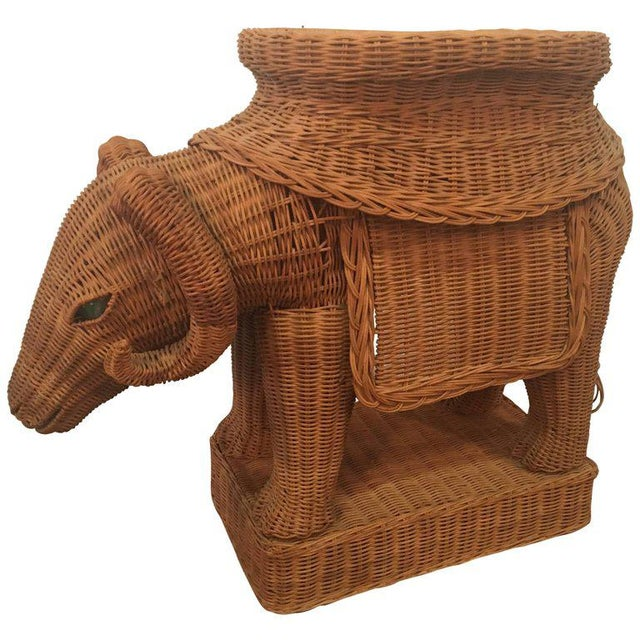 Vintage Wicker Ram Garden Stool Plant Stand For Sale - Image 10 of 10