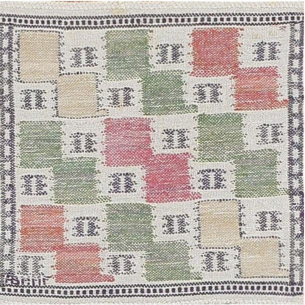 Folk Art Vintage Scandinavian Rug by Marta Maas - 1′4″ × 1′4″ For Sale - Image 3 of 3