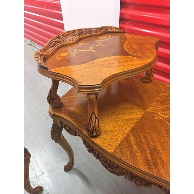 Double-Tier Carved Inlay End Tables - Pair - Image 4 of 11