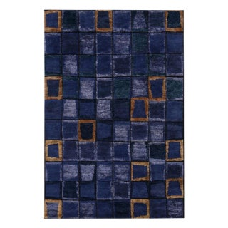 Rug & Kilim's Scandinavian Inspired Multi-Tonal Blue and Purple Wool Pile Rug - 5′1″ × 11′10″ For Sale