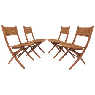 Set of Four Danish Modern Folding Teak and Rope Dining Side Chairs, Circa 1960s For Sale