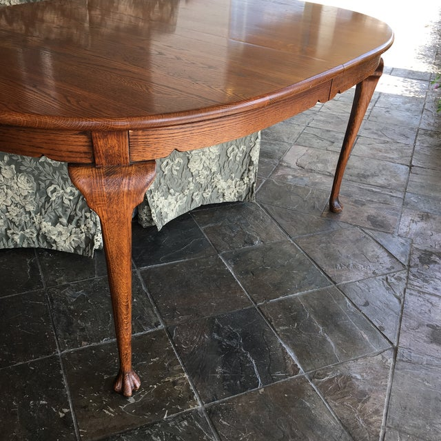 Brown Oak Dining Table With Queen Anne Legs For Sale - Image 8 of 11