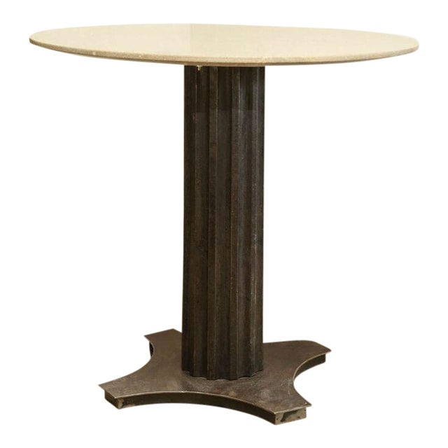 Art Deco Two Fluted Iron and Stone Side Tables For Sale - Image 3 of 9