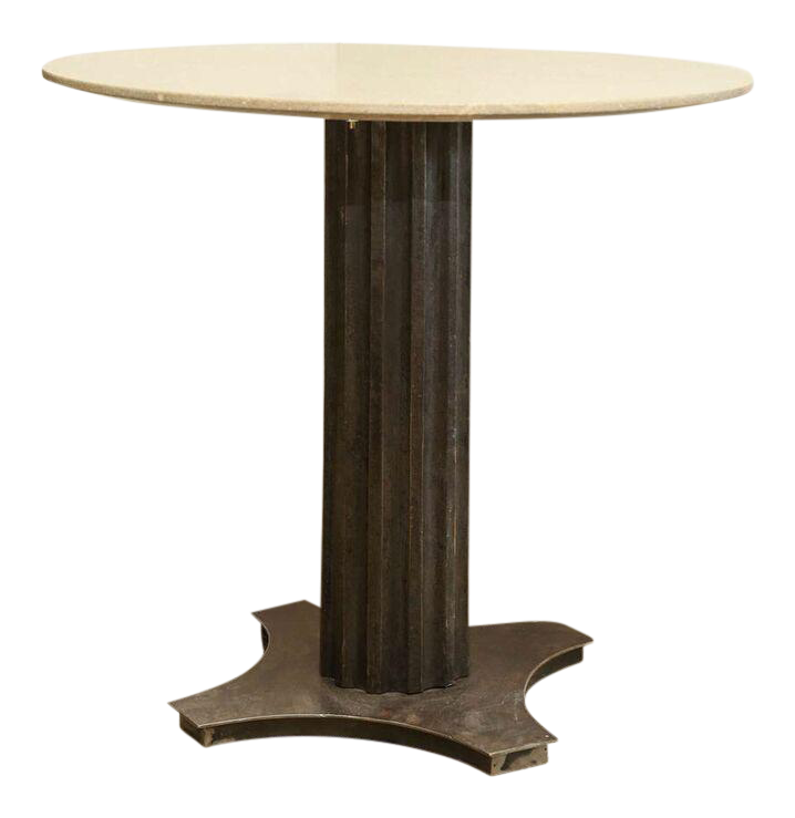 Two Fluted Iron And Stone Side Tables   Image 3 Of 9