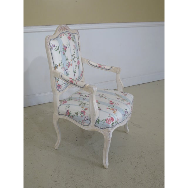 Cottage French Inspired Scalamandre Upholstered Armchairs - A Pair For Sale - Image 3 of 13