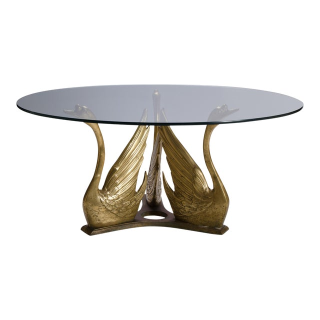 French Brass Seated Swan Base Cocktail Table For Sale