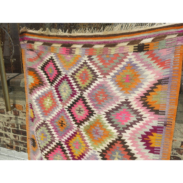 One of a kind Baklava Flat Weave Kilim 3'9'' x 4'6''