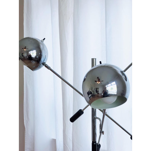 Vintage 1960s 3 Arm articulating floor lamp with eyeball shades and Italian marble base. This lamp features foam handles,...