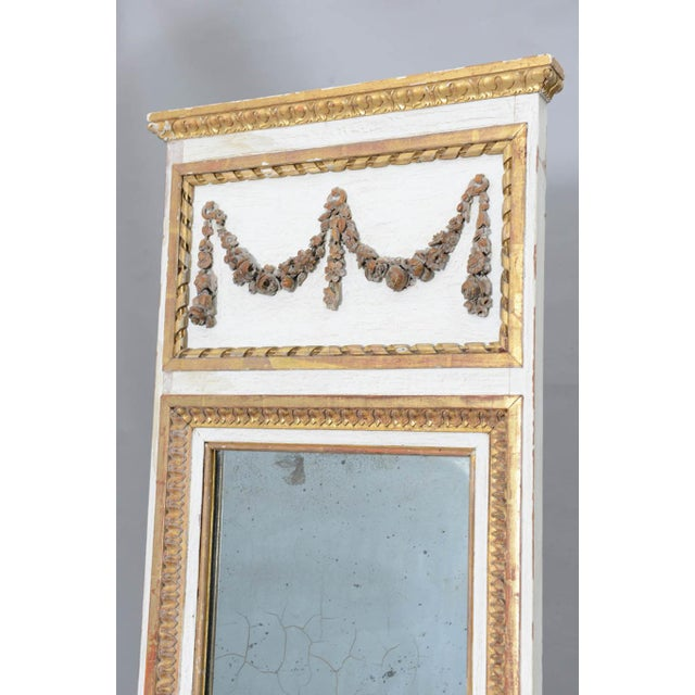 Narrow 19c. Painted and Parcel Gilt French Trumeau Mirror For Sale - Image 4 of 11