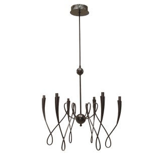 French 1940s Ebonized Metal Chandelier For Sale