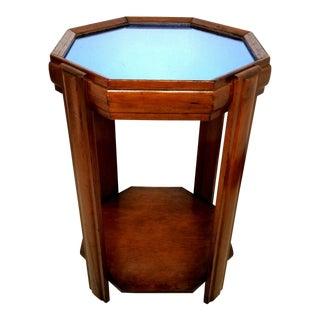 1940's Art Deco Walnut Wood & Cobalt Blue Mirror Glass Octagon Accent Table For Sale