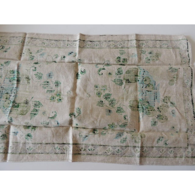 Vintage Green and Blue Printed Bathroom Guest Towel For Sale - Image 4 of 5