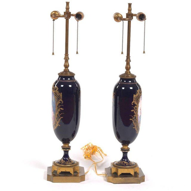 Pair of Sèvres Style Ormolu-Mounted Urns, Now as Lamps For Sale - Image 4 of 7