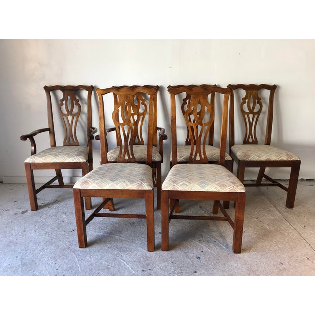 Thomasville Dining Chair Set (6) Fruitwood Excellent For Sale - Image 9 of 9