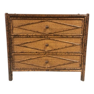 Mid-Century British Colonial Burnt Bamboo and Grasscloth Three Drawer Dresser For Sale