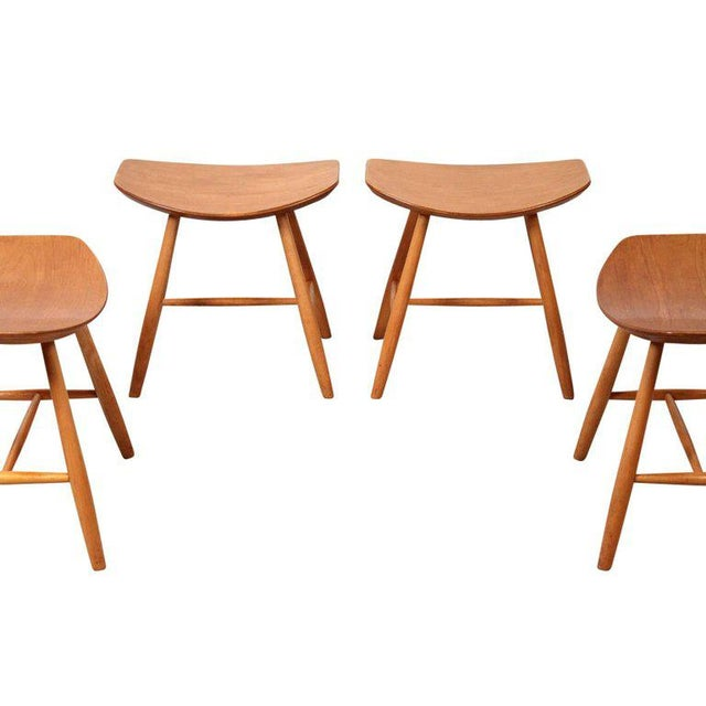 Birch Set of 4 Stools by Ejvind Johansson for FDB Mobler For Sale - Image 7 of 11