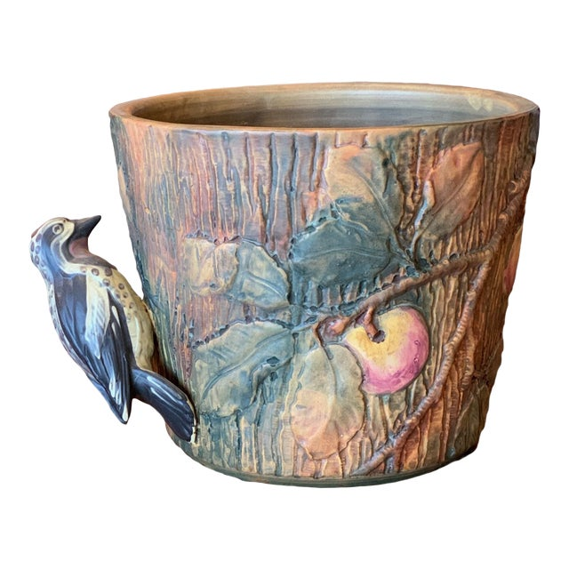 Weller Woodcraft Baldin Jardiniere With Woodpecker For Sale
