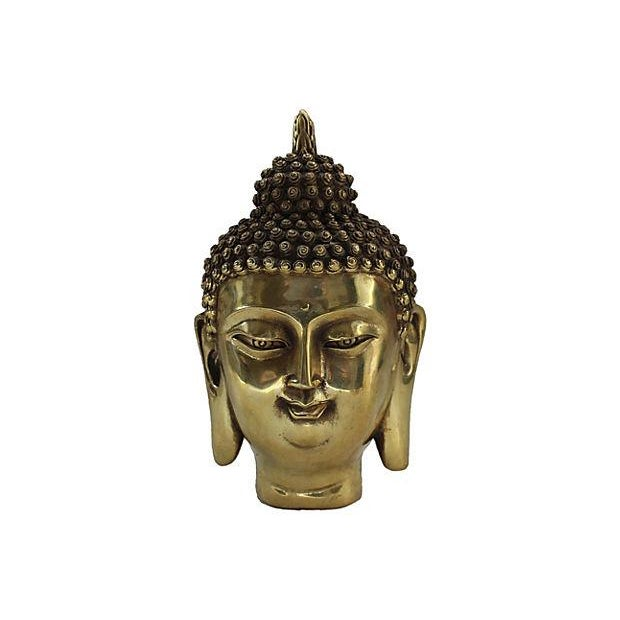 Brass Buddha Head Statue - Image 1 of 6