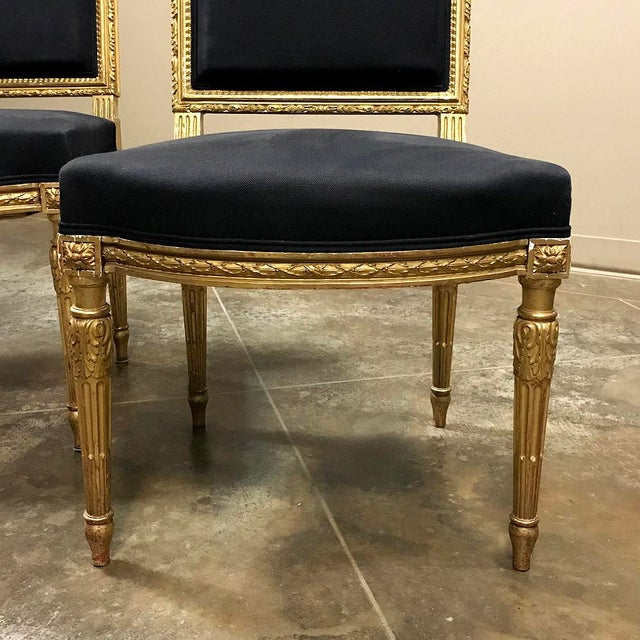 19th Century French Louis XVI Giltwood Chairs - a Pair For Sale - Image 9 of 13