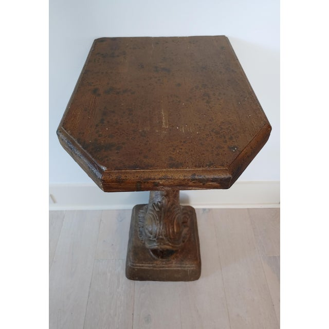 """William """" Billy """" Haines 1990s Hollywood Regency Bronze Koi Pedestal Table For Sale - Image 4 of 8"""