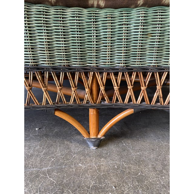Vintage French Grange Wicker Sofa and Coffee Table For Sale In New York - Image 6 of 13
