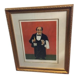 Guy Buffet Waiter Lithograph Perrier Limited Edition Signed For Sale