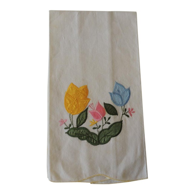 Vintage Green and Yellow Embroidered Bathroom Guest Towel For Sale