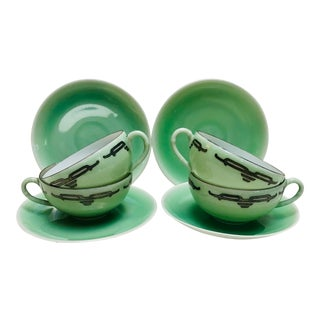 Vintage Art Deco Eggshell Porcelain Teacups and Saucers - Service for 4 For Sale