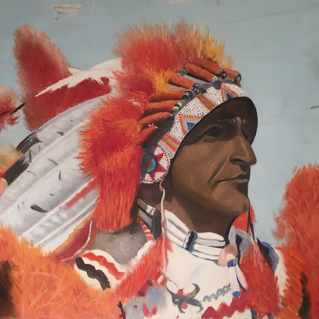 Indian Chief Oil Portrait - Image 4 of 7