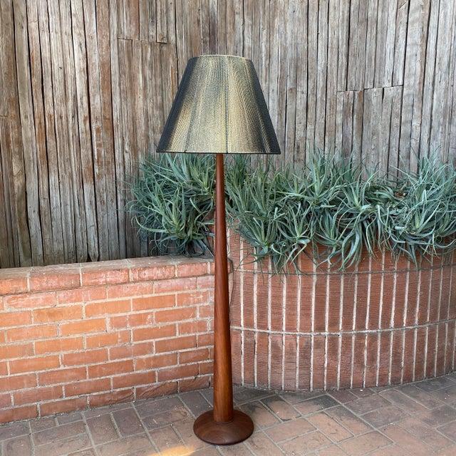 "1960s Danish Modern Teak Floor Lamp with Period Black String Shade Lamp 63"" H x 11"" Round Base (Shade 20"")"