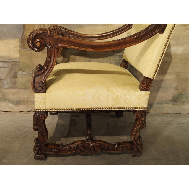 White Circa 1890 Antique French Walnut Wood Armchair For Sale - Image 8 of 11