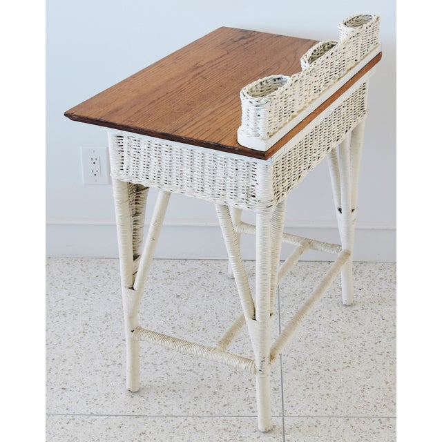 Antique Painted Wicker & Oak Writing Desk Table For Sale - Image 9 of 13
