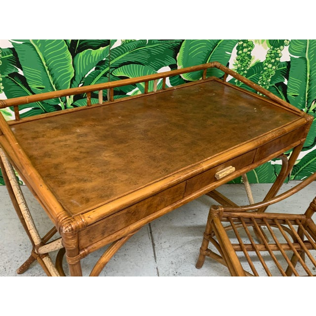 Mid-Century Modern Mid Century Bamboo Desk and Chair For Sale - Image 3 of 13