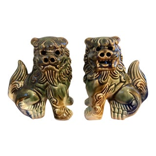 Glazed Ceramic Foo Dogs - A pair