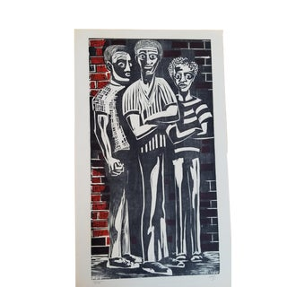 Figurative Woodblock by Herman Roderick Volz For Sale