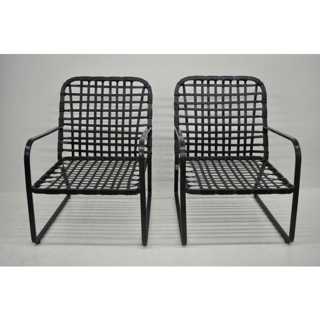 Pair of Brown Jordan Lido Aluminum Vinyl Strap Patio Pool Lounge Chairs Black A - Image 3 of 11