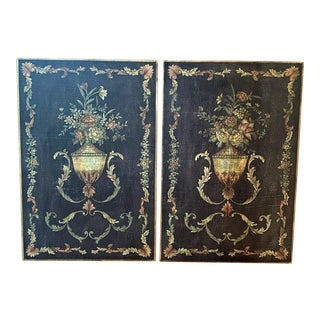 Floral Wood Wall Panels - a Pair For Sale