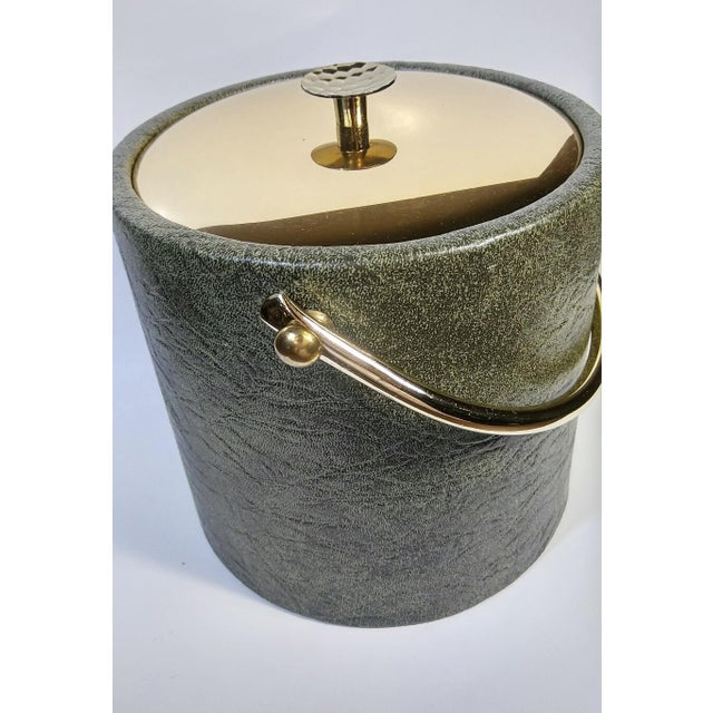 1960s Mid-Century Modern Green & Gold Ice Bucket For Sale - Image 4 of 9